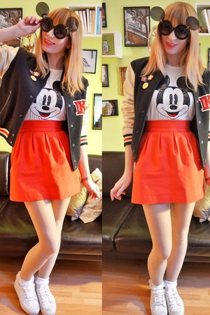 white mickey mouse t-shirt - black mickey mouse sunglasses - red skirt