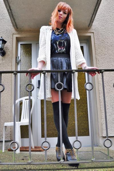 black leather skirt - cream lace coat