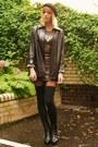 Bronze-metallic-dress-black-leather-jacket