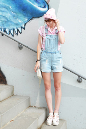 sky blue denim dungarees jumper
