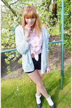 light pink shirt - sky blue cardigan