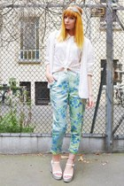 white lace shirt - white hand knitted cardigan - sky blue floral pants
