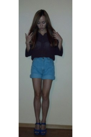 blue Stradivarius wedges - purple Madelene shirt - sky blue Young&New shorts
