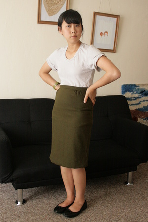 American Apparel shirt - vintage skirt - ellemeno shoes