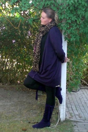 deep purple Gabor boots - brown Louis Vuitton scarf - deep purple H&M cardigan