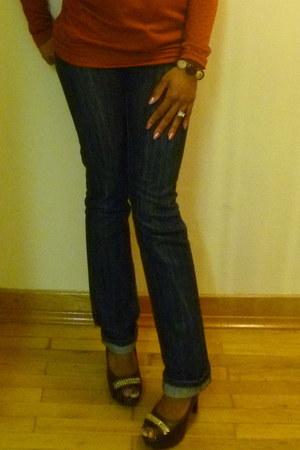 dark brown turkey patch Diva Dezignz earrings - navy Wetseal jeans