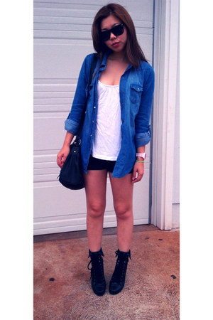 black Aldo boots - blue Walmart shirt - Steve Madden bag
