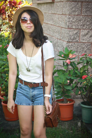 white Forever21 t-shirt - brown - beige hat - blue Goodwill shorts