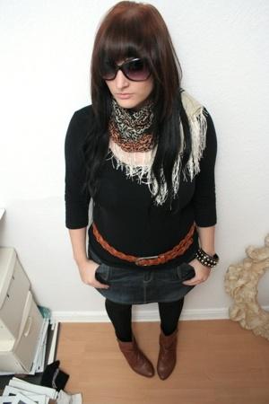 Zara scarf - H&M belt - H&M top - H&M bracelet