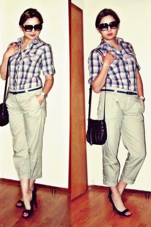 purple Newlook shirt - beige Zara pants - gray Premiata shoes - blue Mexx belt