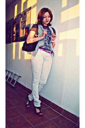gray dark Chie Mihara shoes - silver Mexx jeans - black Tosca Blu bag