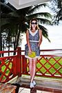 Green-new-look-dress-white-sisley-belt-green-purse-silver-sisley-shoes