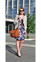silver Zara blazer - Oasis skirt - brown asos purse - gray Premiata shoes - gray