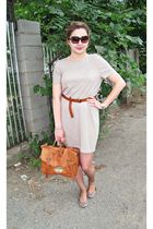 beige Zara dress - brown belt - brown asos purse - brown asos shoes - brown vers