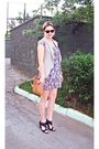 Purple-new-look-dress-brown-zara-purse-gray-chie-mihara-shoes-brown-ray-ba