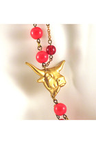 Red Steer Red Glass Manic Trout Necklaces