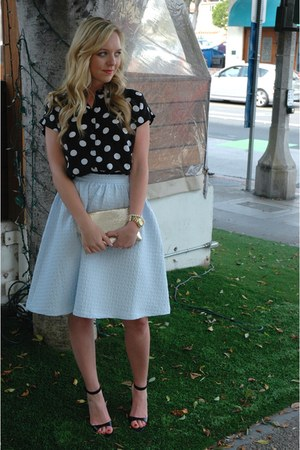 light blue midi Topshop skirt - black high- low Topshop blouse