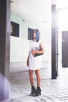 white shirt dress + diy clutch