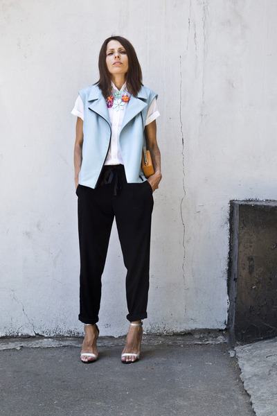 light blue leather I am vest - white cotton shirt