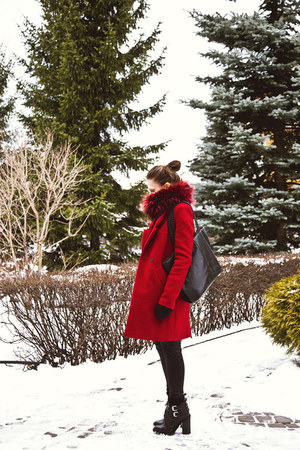 red Zara coat - black Zara boots - red fur Ivagio scarf