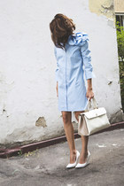 light blue shirt dress Bessonnitsa dress - cream Furla bag - white Mango wedges