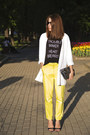 White-stradivarius-blazer-yellow-zara-pants-black-h-m-t-shirt