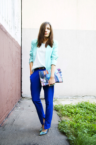 DIY bag - light blue Incity blazer - blue kira plastinina pants