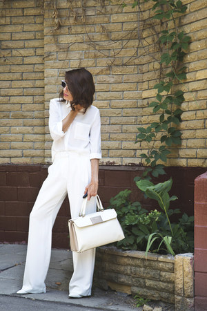 white Incity shirt - cream Furla bag - white Mango pants