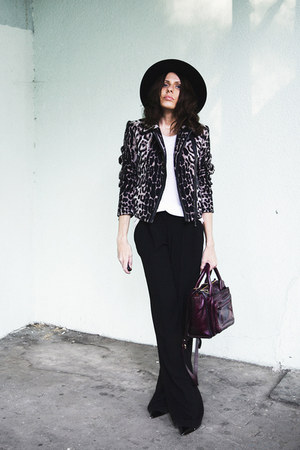 les copains jacket - ruby red River Island hat - maroon Zara bag