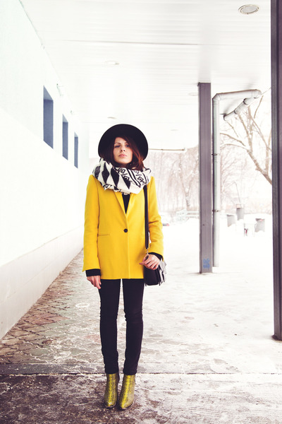 yellow asos boots - black H&M hat - yellow Zara blazer - white Zara scarf