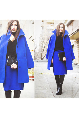 black Mascotte boots - blue unknown coat - black unknown sweater