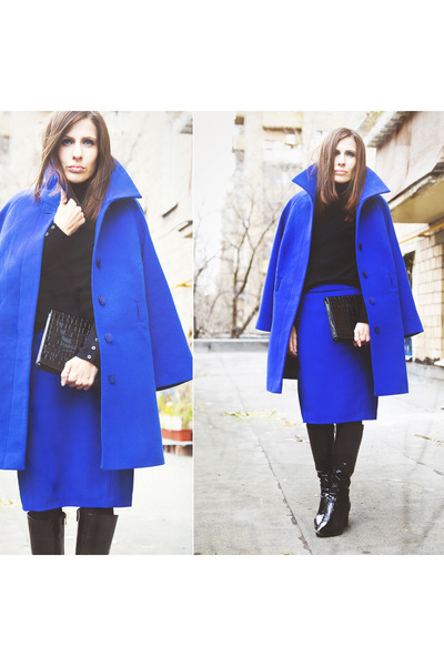 black Mascotte boots - blue unknown coat - black unknown sweater