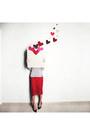 Red-lace-pull-bear-skirt-navy-stripes-breton-tvoe-t-shirt