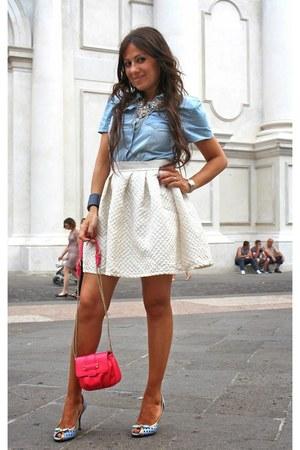 hot pink Max & Co bag - aquamarine Dolce & Gabbana shoes - sky blue scout shirt