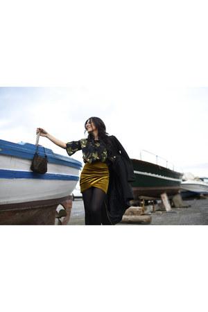 black Zara coat - dark brown Fendi bag - gold Bershka skirt