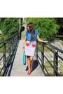 Sky-blue-lazzari-t-shirt-turquoise-blue-lazzari-skirt-red-lazzari-sandals