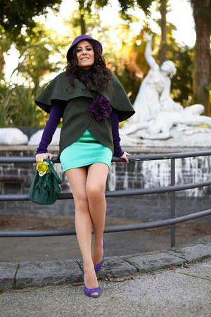 green Mima handmade bag - purple Pollini shoes