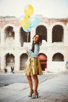 sky blue Lazzari sweater - sky blue Gucci shoes - sky blue Pinko bag