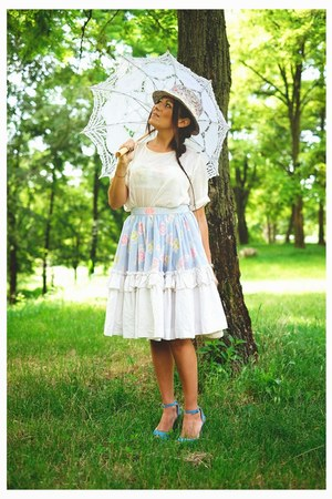 aquamarine vintage hat - sky blue Burberry vintage skirt - white vintage blouse