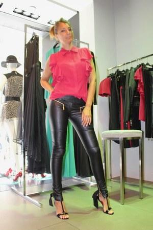 black Mangano shoes - black Mangano pants - red Mangano top