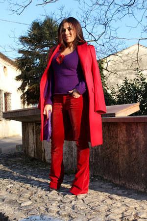 purple Federica Stella shoes - red Pinko coat - purple Dolce & Gabbana sweater
