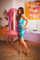 neutral Miu Miu shoes - turquoise blue Pinko dress