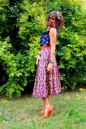 violet Pinko bag - carrot orange Christian Louboutin shoes - maroon Pinko skirt
