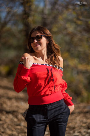 red Sheinside sweater - black MessyWeekend sunglasses