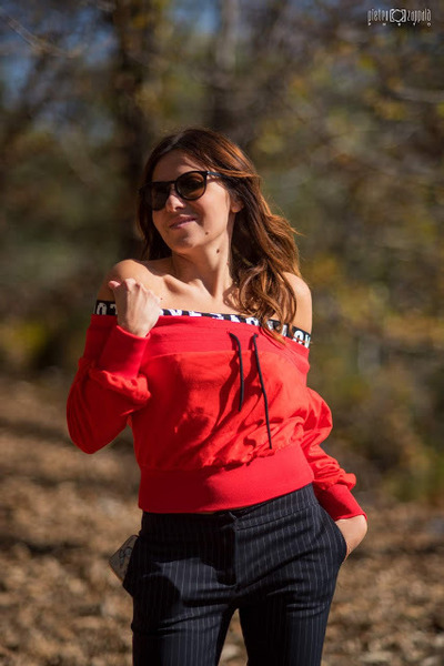 red Sheinside sweater - black MessyWeekend sunglasses