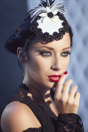 black lip service dress - white Victorian Woman by Manuela Biocca hat