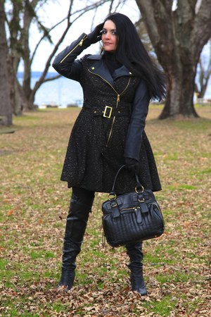 black LABELSHOEScom boots - black Bebe coat