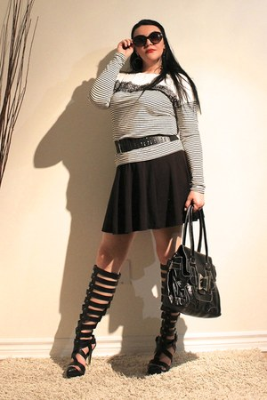 black LABELSHOEScom bag - black LABELSHOEScom heels - black H&M skirt