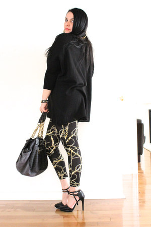 black Forever21 leggings - black LABELSHOEScom bag - black H&M top