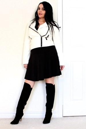 black Forever 21 boots - black H&M skirt